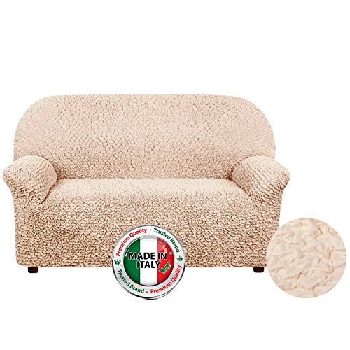 Stretch Furniture Slipcover, Form Fit, Slip Resistant, Stylish Furniture Protector, Two-way Stretch Italian Fabric, Microfibra Collection, Premium Quality, Made in Italy - Vanilla (Loveseat)