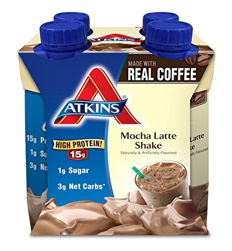 Atkins Ready To Drink Shake, Mocha Latte, 4 Count, 11 Ounce Aseptic Container by Atkins by Atkins