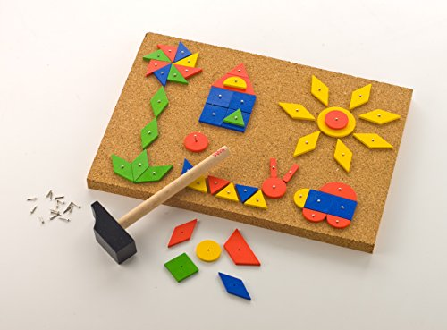 Basic Geometric Template - HABA Tap & Tack Imaginative Design Play Set with Corkboard, Hammer, Templates and 100 Wooden Tiles