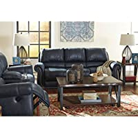 Ashley Furniture Signature Design - Milhaven Faux Leather Upholstered Manual Reclining Sofa - Contemporary - Navy
