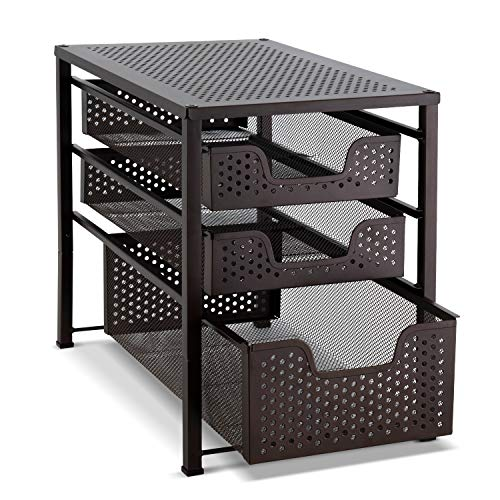 Basket Affection - Bextsware Stackable Multi-Function Under Sink Organizer 3 Tier Sliding Basket Cabinet, Bronze