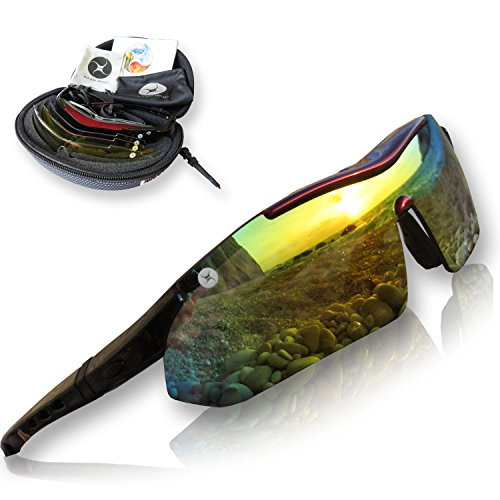 Sports Sunglasses for Men and Women with Large Faces - Professional Glasses with Polarized, Interchangeable Lenses for Cycling, Running and Driving (Cycling Glasses Large compare prices)