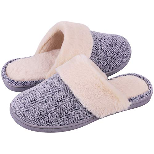 Women's Comfy Memory Foam Slide Slippers Wool-Like Plush Clog House Shoes w/Indoor Outdoor Sole(Large / 9-10 B(M) US, Ocean Blue)