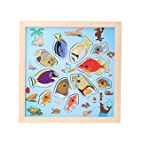Chinatera Baby Kids Magnetic Fishing Game Board Wooden Jigsaw Puzzle Educational Toys