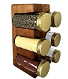 Rustic Wall Co. Natural Acacia Wood Stand with Recycled Glass Spice Jars