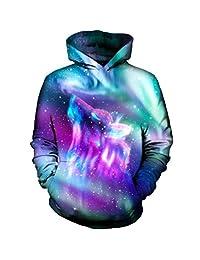 Unisex Space Galaxy Wolf Pullover Hoodie Sweatshirt Sportswear 3D Pullover