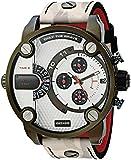 Diesel Men's Little Daddy Stainless Steel Quartz Watch with Leather Calfskin Strap, Multi, 24 (Model: DZ7409)