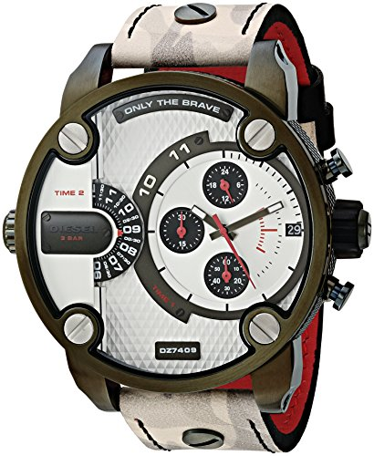 Diesel Men's Little Daddy Stainless Steel Quartz Watch with Leather Calfskin Strap, Multi, 24 (Model: DZ7409)