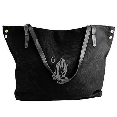 Capacity Canvas Bags Shoulder The Large For Handbags Hobo Fashion Women Six Black Black Tote Pray Handbags Bags CqwT4fg