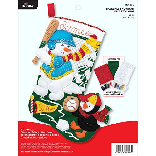 Bucilla 86933E Felt Applique Kit, Baseball - Felt Snowman Applique
