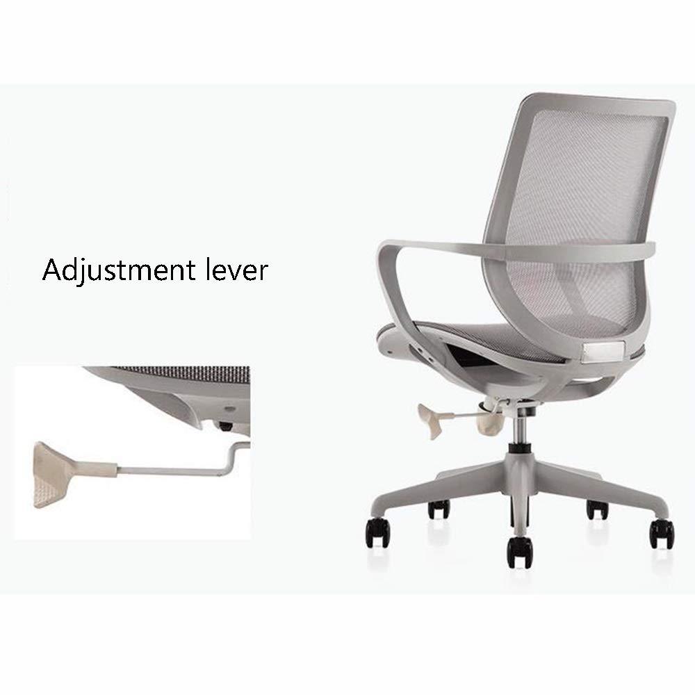WYY HPLL kontorsstol kontorsstol, passar människokroppen kurva S ryggstöd svängbar stol för kontor konferenshall arbetsrum svängbar stol (färg: svart) grå
