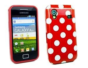 Kit Me Out ES ® Funda de gel TPU + Protector de pantalla con gamuza de microfibra para Samsung Galaxy Ace S5830 - Rojo, Blanco Lunares
