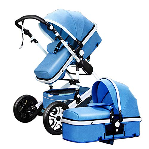 Pushchair pram for Babies 2-1 Baby Stroller Bed? Newborn Bassinet 2-in-1 Reversible Strollers Sleeping Carriage high Landscape Infant Trolley (Blue 2-1)