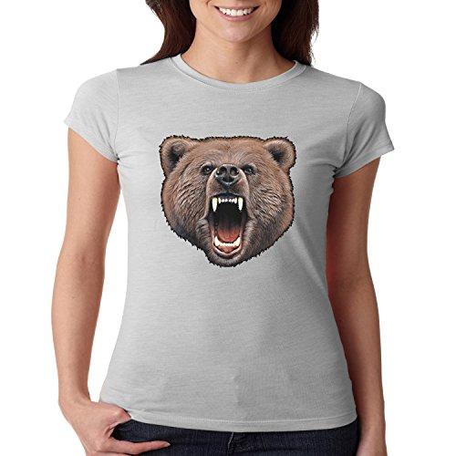 Wild Life Fitted Shirt Bear Bite Juniors Women's S-2XL (Silver, XL) (Bear Bite Shirt)