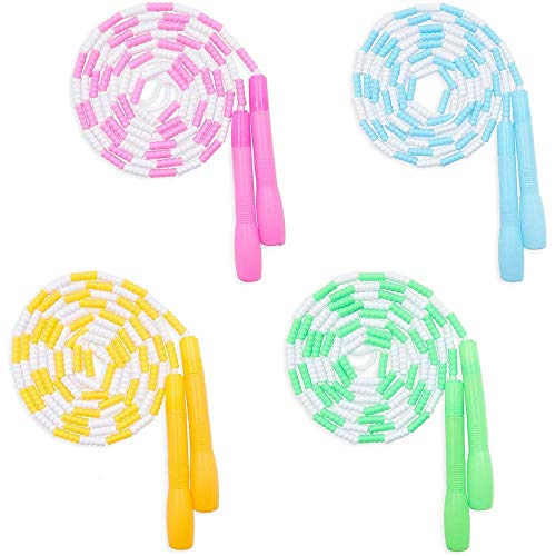 Beaded Jump Ropes for Kids, Skipping Toys in 4 Colors (9.35 Feet, 4 Pack)