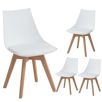 Eggree 4er Set Holz Küchen Stühle Retro Gepolsterter Bürostuhl Mit