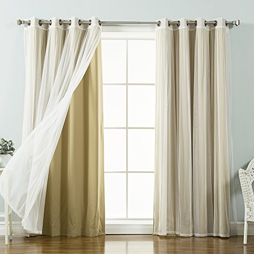Best Home Fashion Mix & Match Tulle Sheer Lace & Blackout Curtain Set - Antique Bronze Grommet Top - Wheat - 52