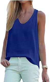 Vests Home Camiseta de Gasa con Cuello en V para Mujer Camiseta Suelta de Color sólido sin Mangas Camis Tanks (Color : Royal Blue, Size : X-Large)