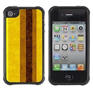 Suave TPU GEL Carcasa Funda Silicona Blando Estuche Caso de protección (para) Apple Iphone 4 / 4S / CECELL Phone case / / Earth Brown Yellow Lines Stripes /