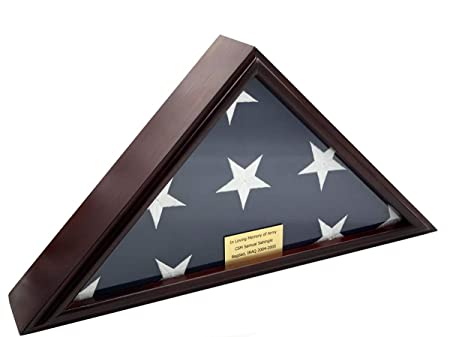 DECOMIL – 5×9 Burial Funeral Veteran Flag Elegant Display Case, Solid Wood, Cherry Finish, Flat Base 5×9, Flat
