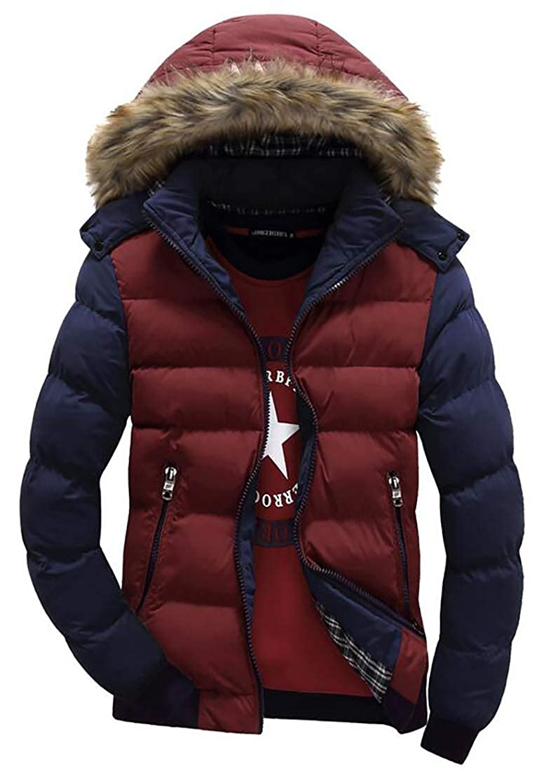 Beloved Mens Winter Snow Puffer Fur Hooded Thick Cotton-Padded Quilted Warm Down Jacket