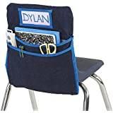ECR4Kids Classroom Seat Companion with Name Tag Slot, Kids School Supply Chair Pocket Organizer for Classroom/Daycare/Homeschool