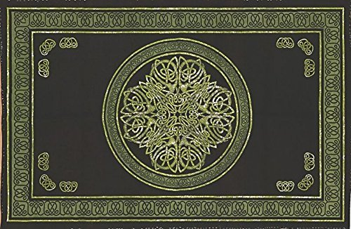 Celtic Cloths - India Arts Celtic Circle Tapestry-Bedspread-Wall Hanging-Green, Black Green,