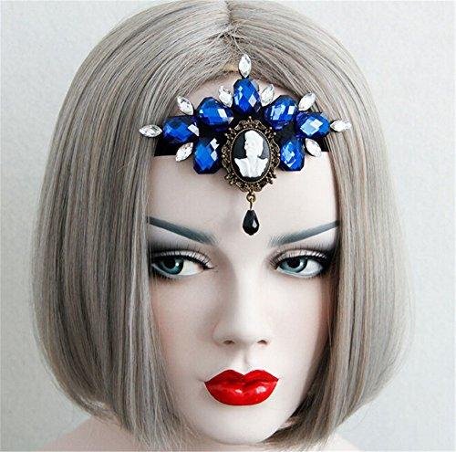Pavian Halloween party performances blue forehead with diamond goddess hair band (Demon Goddess Costume)