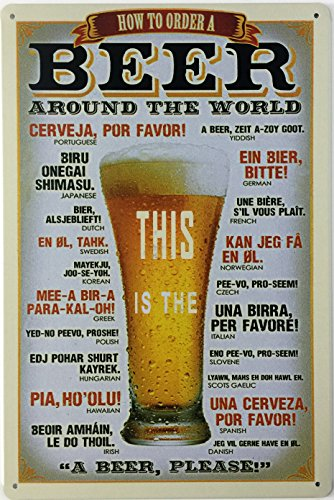"Dehavre How to Order a Beer Around The World Retro Vintage Bar Restaurant Metal Tin Sign 8""x12 inches"