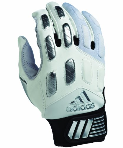 adidas Mallice II Football Receiver Gloves, Large, White/Silver