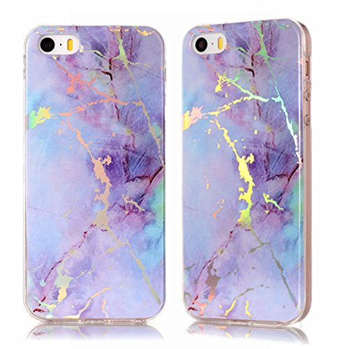 DAMONDY iPhone SE Case,iPhone 5S Case, iPhone 5 Case, 3D Shiny Marble Glitter Ultra Thin Slim Back Skin Full Body Protective Soft TPU Rubber Bumper Case Phone Cover For iPhone SE/5S/5-pink purple