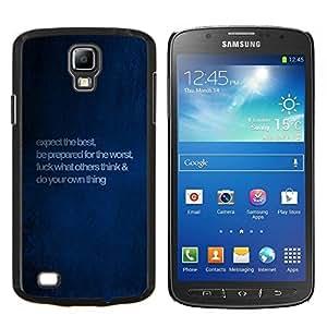 KLONGSHOP // Cubierta de piel con cierre a presión Shell trasero duro de goma Protección Caso - Azul de motivación inspiradora Mensaje - Samsung Galaxy S4 Active i9295 //