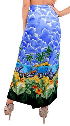 sarong traje de baño para mujer del traje de baño del traje de baño del bikini, pareo envoltura encubrir ropa de playa complejo de la falda Azul