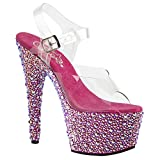Womens Pink High Heels Platform Sandals Open Toe Shoes Rhinestones 7 Inch Heels Size: 6