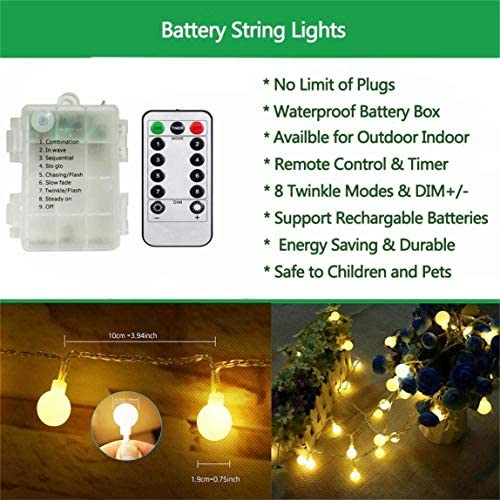 AMARS Battery Operated Globe String Lights with Remote Control 33FT LED Twinkle Ball Fairy Light Room Wall Hanging Decorative Lighting for Bedroom Backyard Patio Indoor Outdoor Porch Warm White