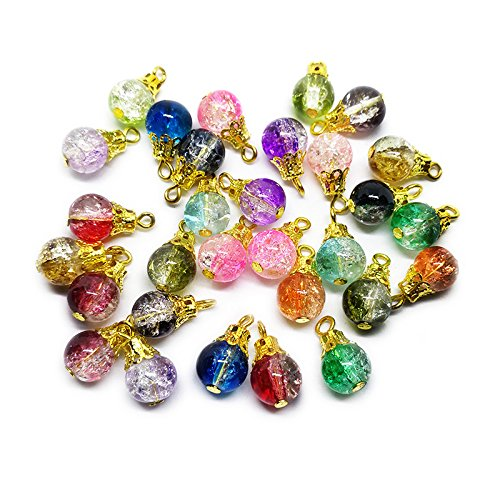 Bumpy Round Beads - Beading Station 752264552299 30-Piece Handcrafted Crackle Glass Beads Drops with Gold Wire and Bead Cap