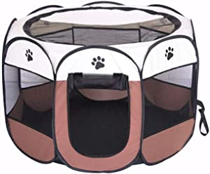 BODISEINT Portable Pet Playpen, Dog Playpen Foldable Pet Exercise Pen Tents Dog Kennel House Playground for Puppy Dog Yorkie Cat Bunny Indoor Outdoor Travel Camping Use