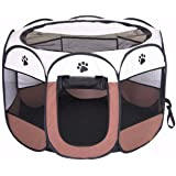 BODISEINT Portable Pet Playpen, Dog Playpen Foldable Pet Exercise Pen Tents Dog Kennel House Playground for Puppy Dog Yorkie