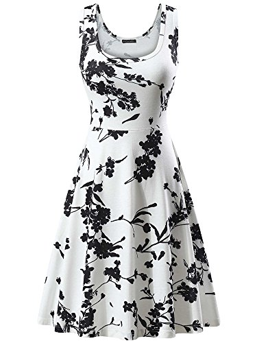 FENSACE Women's Sleeveless Midi Casual Flared Tank Dress