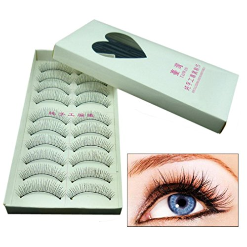 Iuhan 10Pairs Women Gril Lady Natural Fashion Eyelashes Eye Makeup Handmade Long False Lashes Sparse (Dramatic Cat Eye Halloween)