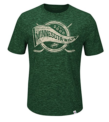 VF LSG NHL Minnesota Wild Glorious Finish Short Sleeve Crew Neck Tee, Large, Hyper Green Pepper (Majestic Minnesota Wild Green)