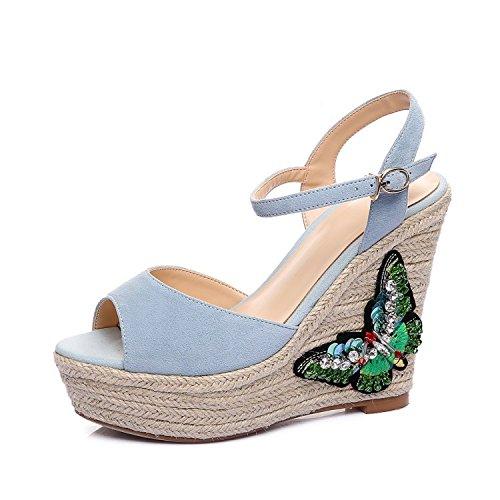 DENeue weibliche matte Schaffell Fisch Mund Sandalen bequeme wasserdichte Plattform Schmetterling Slope mit High Heels Damen Sandalen , blue , 39