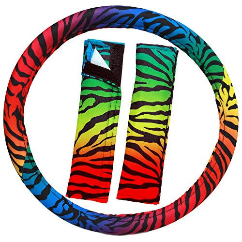 OxGord Zebra Steering Wheel Cover (Touch Rainbow Zebra)