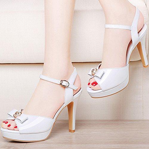 Moda Mujer verano sandalias confortables tacones altos,37 oro pálido White