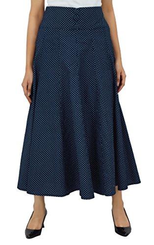 Bimba Medio corto de la falda de cambray alta cintura de las mujeres estalló una línea retro faldas boho Azul
