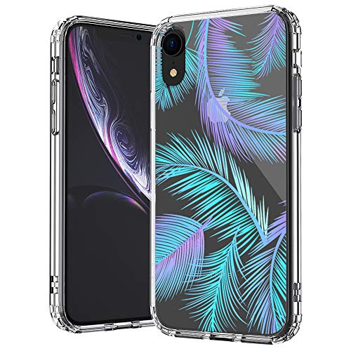 MOSNOVO iPhone XR Case, Clear iPhone XR Case, Tropical Palm Leaf Pattern Clear Design Transparent Plastic Hard Back Case with Soft TPU Bumper Protective Case Cover for Apple iPhone XR ()