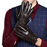 KelaSip Sheepskin Leather Gloves Touchscreen Winter Warm Business Fashion for Men's Texting Driving