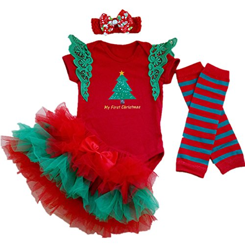 AISHIONY Baby Girl My 1st Christmas Tutu Newborn Outfit Bodysuit Dress 4PC S