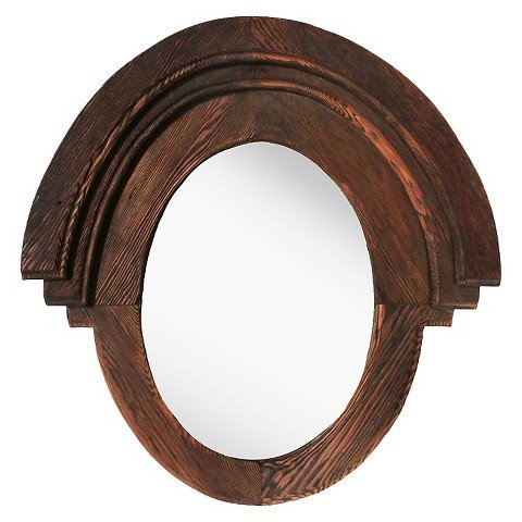 PTM Western Rustic Wood Oval Mirror - Brown by ptm