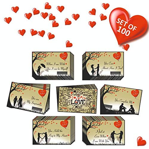Vantagekart 100 Romantic Cards Why I Love You with Reasons Which is Ideal for Valentine Day, Husband/Wife/Girlfriend/Boyfriend Birthday and Marriage Anniversary Gift (7cm x 4.5 cm)